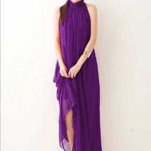 Purple Maxi Chiffon Dress Halter Neck Large NWOT